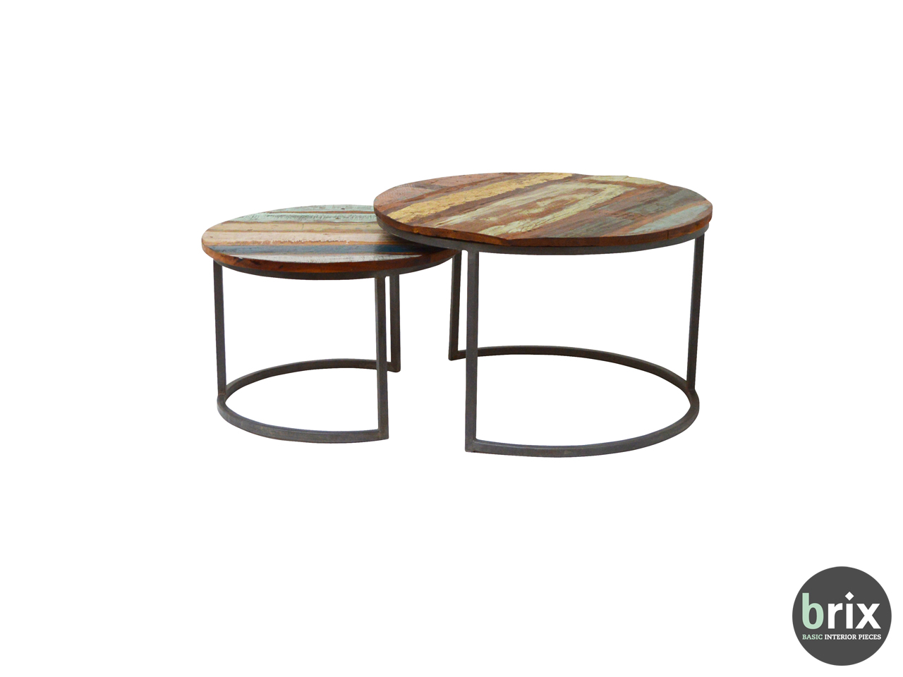 11503 Salontafel Jimmi (set of 2) Steel and mango wood