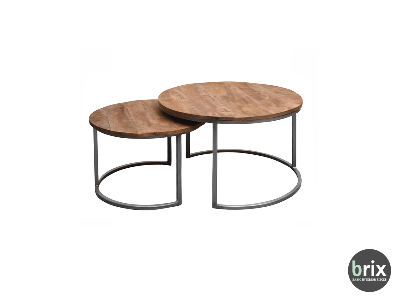11781 Salontafel Jamie (set of 2) Steel and mango wood