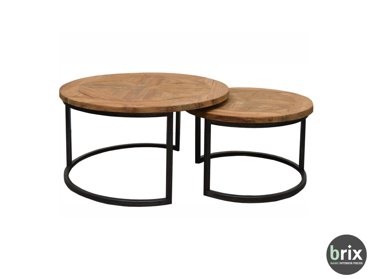 11862 Salontafel set Lou round (set of 2)  teakwood and steel