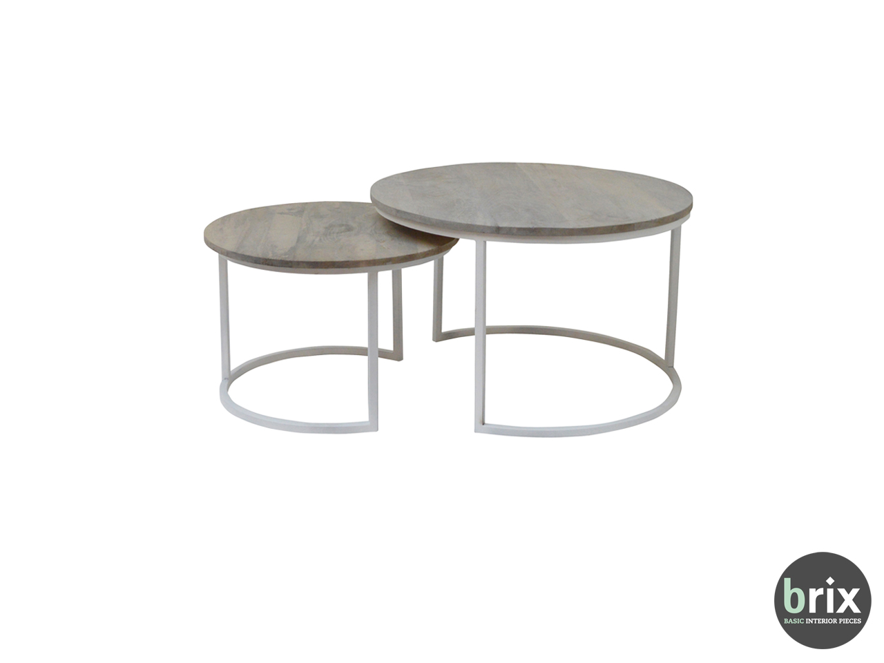 11502 Salontafel Freddy (set of 2) White Steel and grey mango wood
